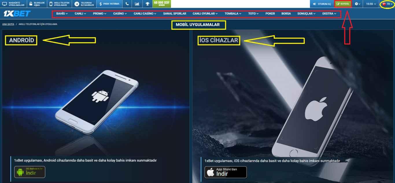 1xBet'in Akıllı Telefonlara Uygulamasını İndirmek